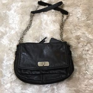 Black Leather With Chain Straps Coach Bag